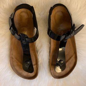 Black Patent Birkenstock Kairo Slingback Sandals